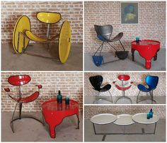 """We already showcased some cool furniture made from upcycled oil drums such as these chairs or these incredible """"Dentelles & Bidons"""" furniture. With thousands of oil drums discarded everyday around the world, designers have a good resource of raw material… Patio Furniture Redo, Trendy Furniture, Furniture Ads, Art Deco Furniture, Recycled Furniture, Refurbished Furniture, Design Furniture, Farmhouse Furniture, Cheap Furniture"""