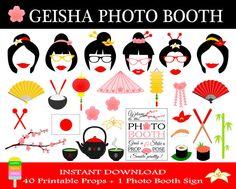 PRINTABLE Geisha Photo Booth PropsJapan por HappyFiestaDesign