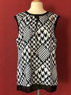 CLASSIQUES ENTIER Black Ivory Print Silk Blend Sleeveless Top Size XL #CLASSIQUESENTIER #Tunic #Career