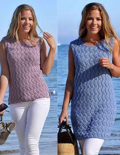 Få en strikkeopskrift på en fin top i to forskellige længder her Summer Knitting, Knit Patterns, Knit Dress, Knit Crochet, Tank Tops, My Style, Casual, How To Wear, Clothes