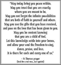 Prayer- Prayer of St. Therese (the Little Flower)