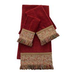 Sherry Kline Red Swirled Paisley 3-piece Embellished Towel Set