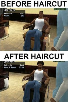 Funny pictures about GTA Barber. Oh, and cool pics about GTA Barber. Also, GTA Barber photos. Video Game Logic, Video Games Funny, Funny Games, Videos Funny, Gta 5, Afro, Gta Logic, Gta Funny, Before And After Haircut