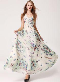 Apricot V Neck Sleeveless Butterfly Print Dress 23.33
