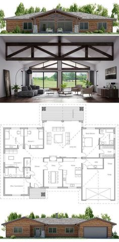 Love the beams! Would want to kitchen open to the living space though