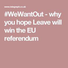 - why you hope Leave will win the EU referendum Eu Referendum, Leaves