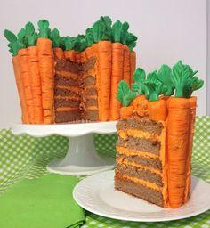 Pastel de zanahoria decorado con zanahorias!!!!!