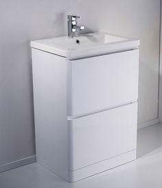 White High Gloss Bathroom Vanity Units - There are various styles of dressing tables which can be utilized in the bathrooms t Freestanding Vanity Unit, Basin Vanity Unit, Vessel Sink Vanity, Bathroom Vanity Units, Vanity Cabinet, Bathroom Cabinets, Bathroom Flooring, Bathroom Furniture, Large Bathrooms