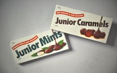 Davis | Junior Mints retro packaging. #TBT Retro Packaging, Junior Mints, Package Design, Best Brand, Over The Years, Caramel, Candy, Pure Products, Chocolate