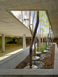 Widmi Building,© Michael Haug Architecture Building Design, Space Architecture, Landscape Architecture, Amazing Architecture, Architecture Details, Landscape Design, Garage Parking, Parking Space, Parking Building