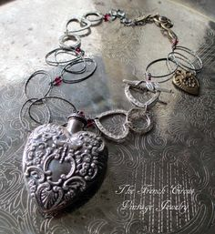 STERLING VALENTINE vintage assemblage necklace by TheFrenchCircus