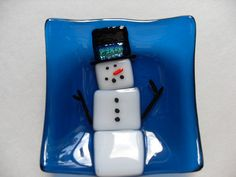 Turquoise blue Snowman mini fused glass dish by sherrylee16, $15.00