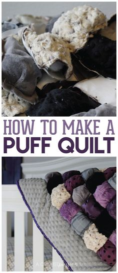 Learn how to make a puff quilt with this simple tutorial. Also known as a biscuit quilt, this easy quilt is perfect for even a beginner to make and so cute! Makes a great baby shower gift, Christmas present, or birthday present for a new baby.