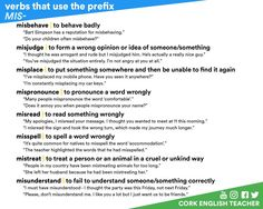 "hellolearnenglishwithantriparto: "" Verbs that use the prefix -MIS #learnenglish """