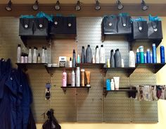 Wall Control Metal Pegboard isn't just great in the home or garage but also works great for point-of-purchase displays! Wall Control's chic, industrial look creates an attractive statement in trendy environments, like this beauty salon. Thanks for the great customer photo Genia!
