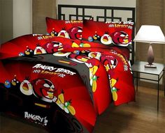 Angry Birds Cartoon Print double Bedsheet from Urban Buy