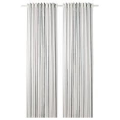 RITVA Curtains with tie-backs, 1 pair, white, The curtains lower the general light level and provide privacy by preventing people outside from seeing directly into the room. The curtains can be used on a curtain rod or a curtain track. Curtain Rings With Clips, Curtains With Rings, Ikea Curtains, Lace Curtains, Striped Curtains, Curtain Wire, Curtain Rods, Curtains Without Sewing, Ceiling Materials