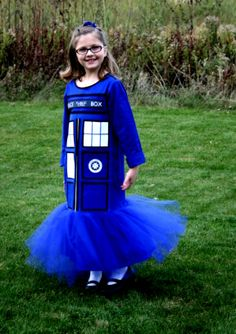 My nine year old daughter, Kenzie, wearing her custom-made (by my mother) Doctor Who TARDIS Halloween costume. #DoctorWho #TARDIS #Halloween Costume