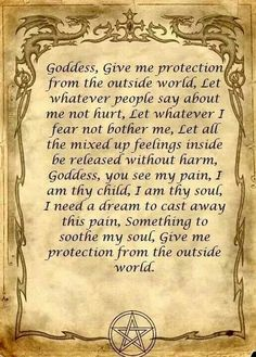 Book of Shadows: Protection spell Goddess