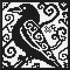 Spirit Raven Chart by Melanie Nordberg -This pattern is available for free. 60 x 60 stitches chart suitable for crochet, cross stitch and filet crochet Cross Stitch Bird, Cross Stitch Animals, Cross Stitch Charts, Cross Stitch Designs, Cross Stitching, Cross Stitch Embroidery, Embroidery Patterns, Cross Stitch Patterns, Pagan Cross Stitch