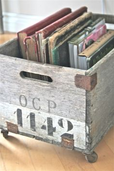 adding casters to an old box makes a great place to store books under a desk.