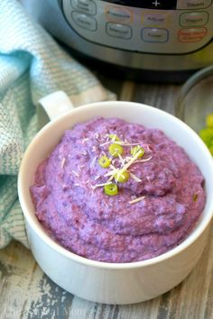 This naturally purple Instant Pot cauliflower mash is so much fun to make and eat! Like mashed potatoes but with cauliflower, packed with flavor and color!