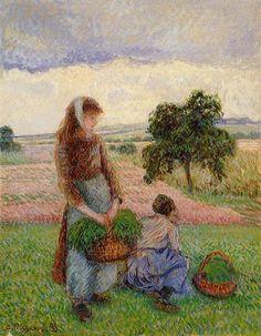 """Camille Pissarro (1830-1903) ~ """"Paysanne Portant un panier"""", 1888 ~ Huile sur Toile ~ Collection Privée"""
