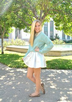 #leopard #flats #white #skirt #mint #sweater #sparkly #collar