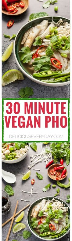 This 30-minute easy vegan pho recipe is the ultimate in comfort food. A…