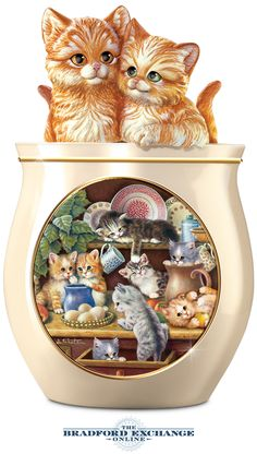 Store treats in Kitchen Comforts Cookie Jar with cat imagery by Jürgen Scholz.