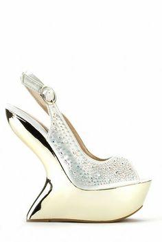 Exquisite Diamante Curve Wedge Sandals