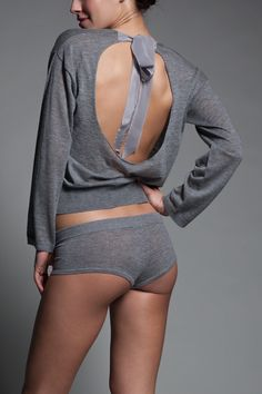 Luxe Backless Sweater | Kiki de Montparnasse -- making in a bordeaux wool/angora blend with silk ribbons.