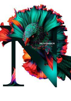Diseño de Calendario con flores y aves muy original   Jumabu