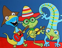 Dancing iguana, music, having fun, colors, caribbean, curacao, happy