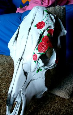 Inspirstion....Painted up a cow skull... find me on Instagram @countrycouturealedo to create a custom piece