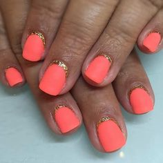 35 bright summer nail designs matte nails, gold and Orange Nail Designs, Short Nail Designs, Cool Nail Designs, Orange Design, Nail Design Gold, Nail Design Spring, Summer Design, Neon Orange Nails, Orange Nail Polish