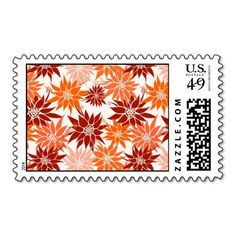 Orange Flowers postage  #postage #stamp #stamps #zazzle #flowers #floral #flower #nature