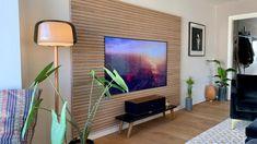 Wooden slat wall, wall panels & acoustic panels at Wooden Wall Panels, Slat Wall, Wood Panel Walls, Wooden Slats, Wood Paneling, Wood Wall, Ceiling Panels, Scandinavian Living, Acoustic Panels