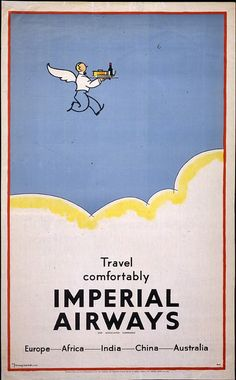 Fly Imperial Airways to Europe, Africa, India, China and Australia #aviationglamourtravelposters