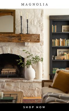 magnolia homes joanna gaines Live your room decor ideas moment Home Fireplace, Fireplace Remodel, Living Room With Fireplace, Fireplace Design, Home Living Room, Fireplace Ideas, Limestone Fireplace, Whitewash Stone Fireplace, Painted Stone Fireplace