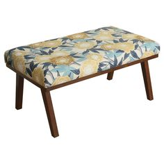 Mid Mod Floral Decorative Bench - HomePop, Amber