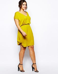 ASOS CURVE Mustard drape dress. For more inbetweenie and plus size style ideas, go to www.dressingup.co.nz