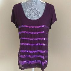 Calvin Klein Sequin Top Royal purple short sleeve top with purple sequin front. Pre-loved and in excellent condition. Shell is 100% rayon, front panel is 100% polyester exclusive of sequins. Calvin Klein Tops Tees - Short Sleeve