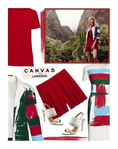 """Paint Your Look With Canvas by Lands' End Contest Entry"" by tiffanysblues ❤ liked on Polyvore featuring Canvas by Lands' End, Lands' End, paintyourlook, canvasbylandsend and youaretheartist"