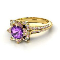 Tangled-Inspired Ring!! - Round Amethyst 14K Yellow Gold Ring with Diamond & Pink Tourmaline