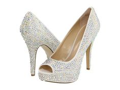 White and Gold Wedding Shoes. Sparkly Glitter Heels. Bride Shoes. Enzo Angiolini Show You White Fabric - Zappos.com Free Shipping BOTH Ways