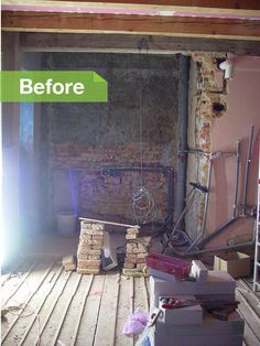 BEFORE: This area had been part of the living room and bathroom.