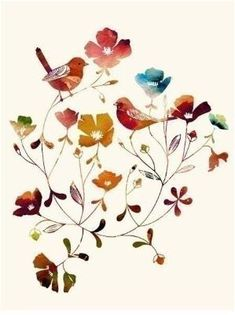 watercolor flowers and birds by matilda