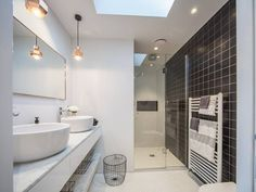 Family Heaven Alex and Corban's House Family Bathroom, Small Bathroom, Bathroom Ideas, Exterior Design, Interior And Exterior, The Block Nz, Bathroom Lighting, Light Bathroom, House Inside