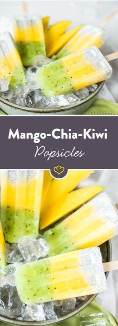 Chi-Samen im Cocktail, Chia-Samen im Pudding und jetzt auch Chia-Samen im Eis. Okay – Chia-Samen im Eis gibt es schon ein bisschen länger. Aber nicht im Eis am Stiel – das ist neu! Und auch nicht als fruchtige Trilogie mit Mango und Kiwi. Kannst du dir also schon zum Frühstück schmecken lassen. Und als eiskalten Powersnack zwischendurch auch.